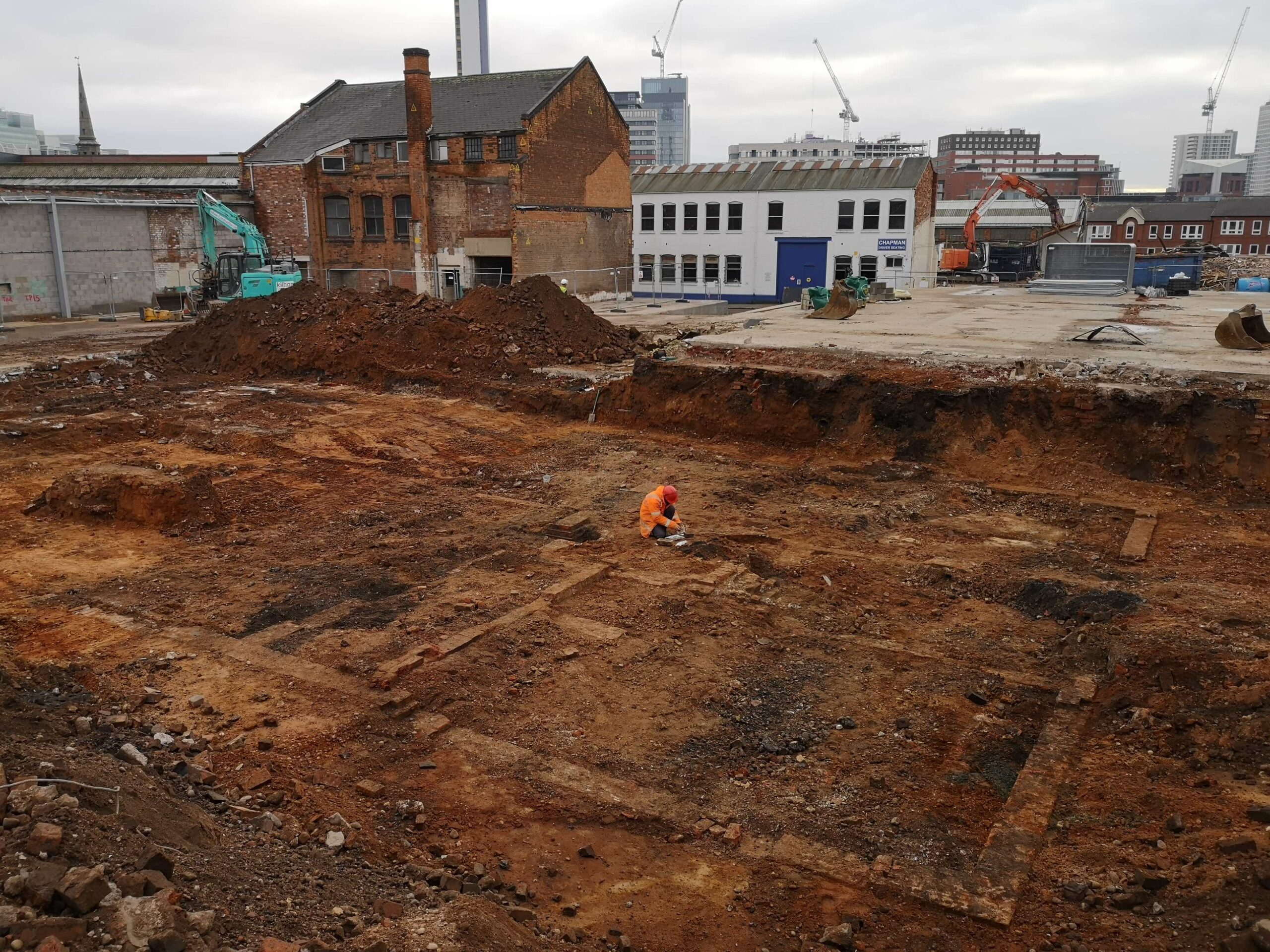 'James Watt Villa Footprint 1': Archaeologists on site at St Paul's Quarter in the Jewellery Quarter. (Photo credit: RPS)